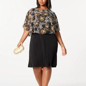 Connected Plus Size Chiffon Overlay Dress, 22W